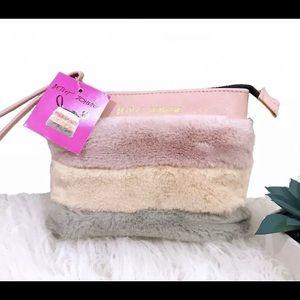 Betsey Johnson faux fur rose gold cosmetics Bag